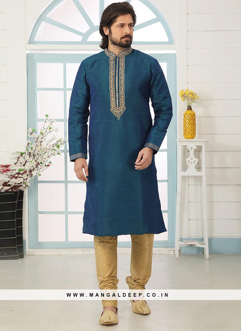 Festive Function Wear Teal Color Embroidered Kurta Pajama