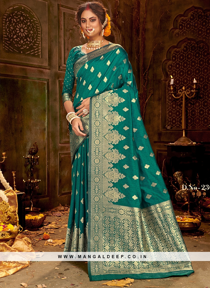 Festive Function Wear Teal Color Silk Saree