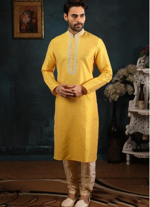 Festive Function Wear Yellow Color Banarasi Art Silk Kurta Pajama