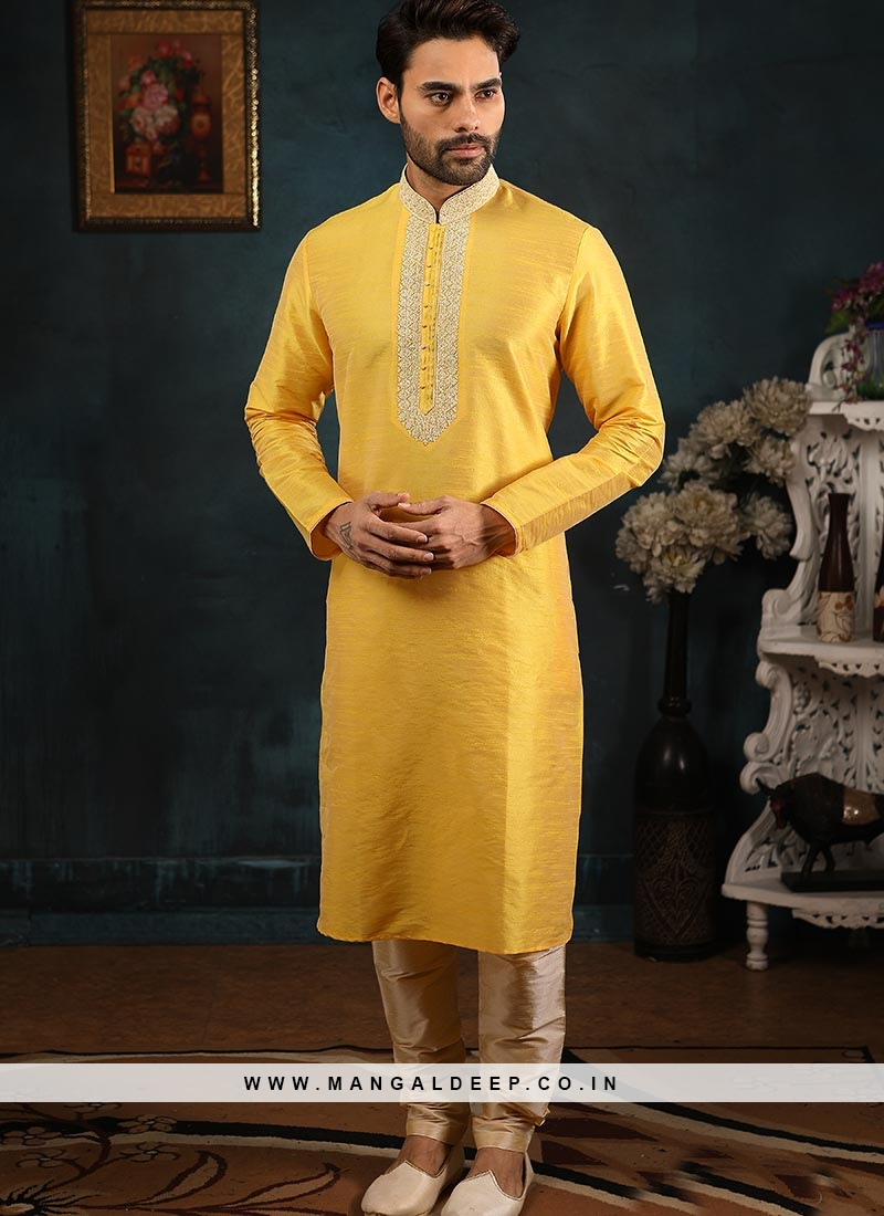 Festive Function Wear Yellow Color Banarasi Art Silk Kurta Pajama