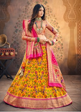 Festive Function Wear Yellow Color Designer Lehenga Choli
