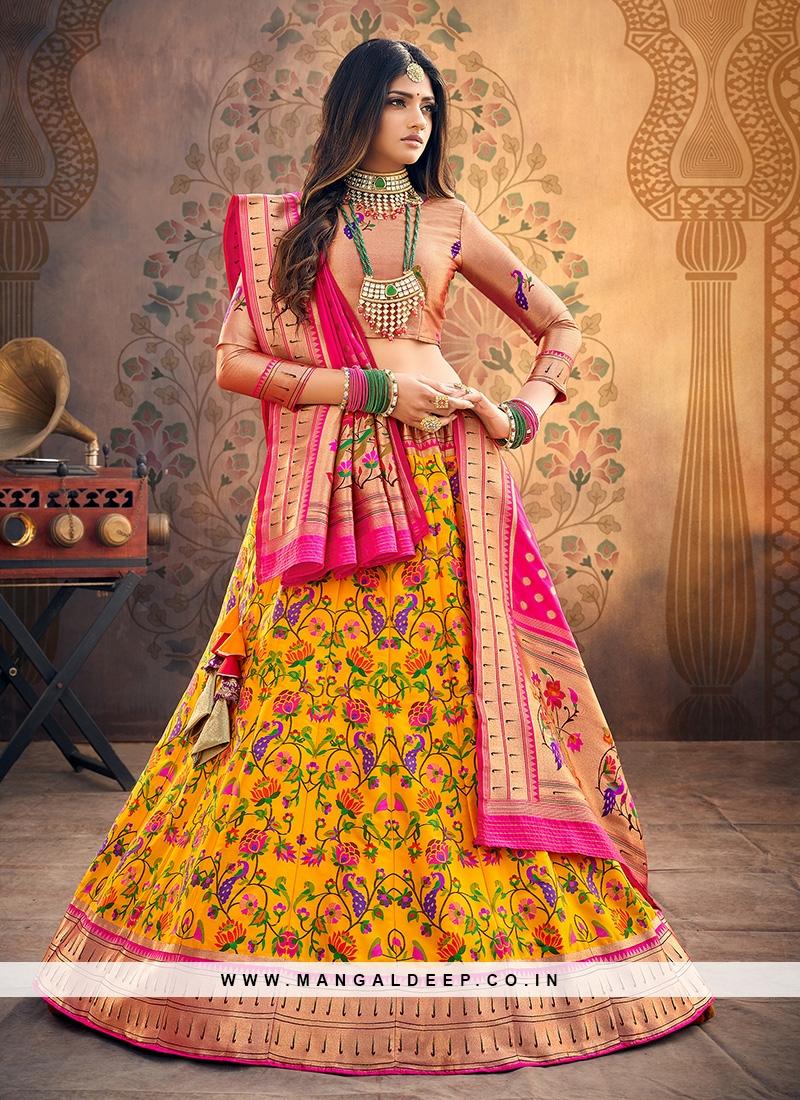 Festive Function Wear Yellow Color Designer Lehenga Choli