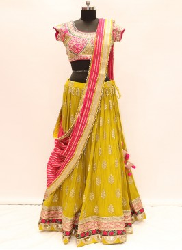 Festive Function Wear Yellow Color Lehenga Choli
