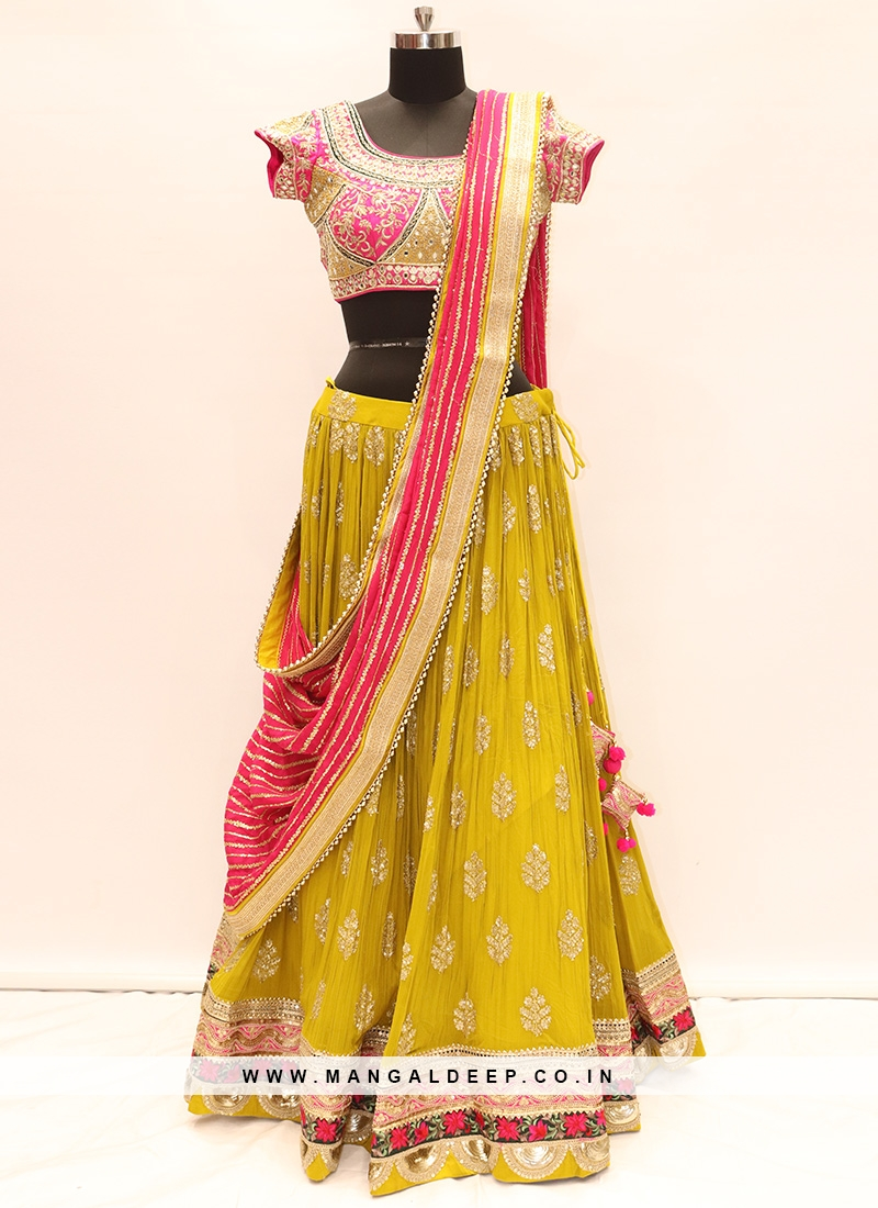 Festive Function Wear Yellow Color Lehenga Choli