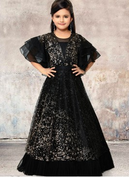 Festive Wear Black Color Designer Gown