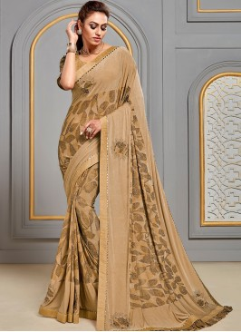 Festive Wear Designer Saree In Classic Beige Color