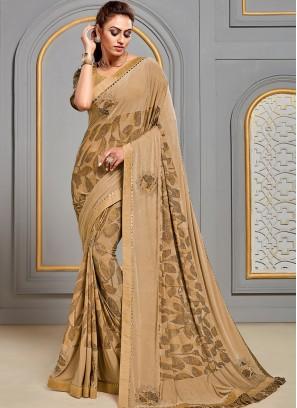 Festive Wear Designer Saree In Classic Beige Color