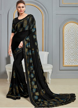 Festive Wear Designer Saree In Classic Black Color