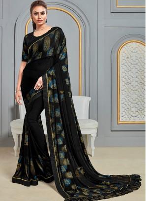 Festive Wear Designer Saree In Classic Black Color
