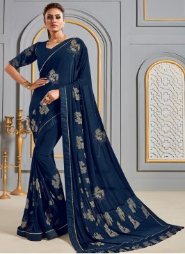 Festive Wear Designer Saree In Classic Blue Color