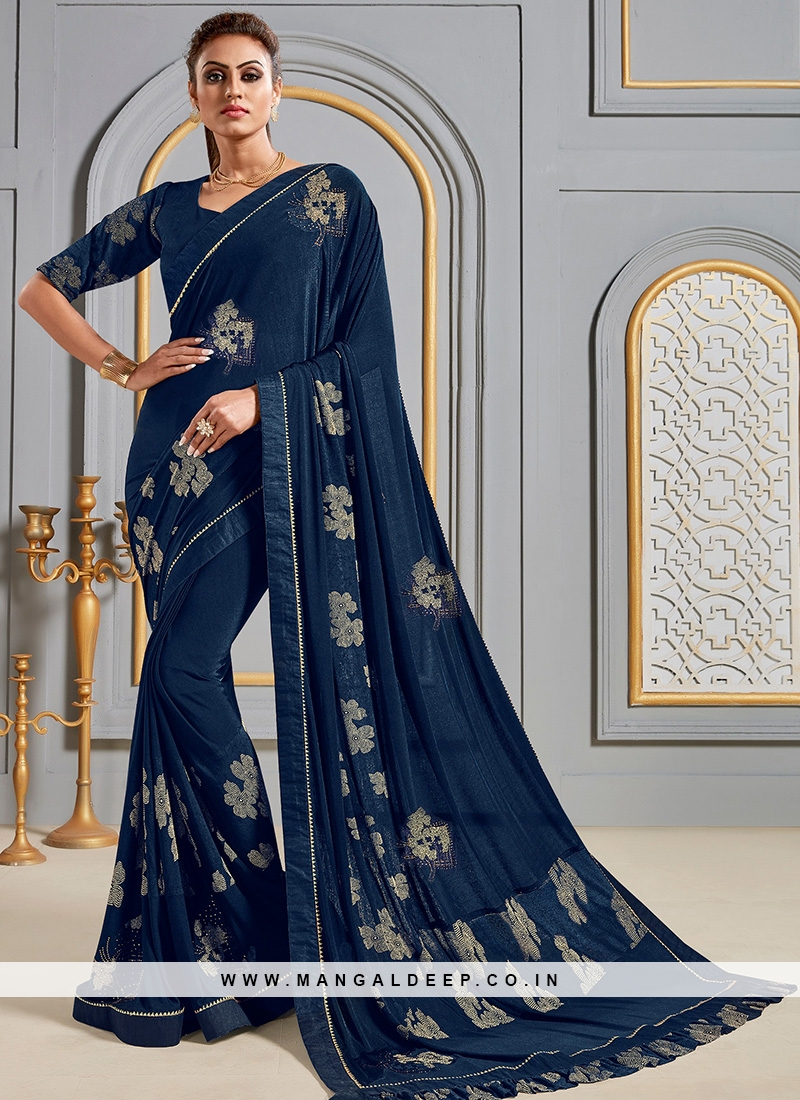 Festive Wear Designer Saree In Classic Blue Color