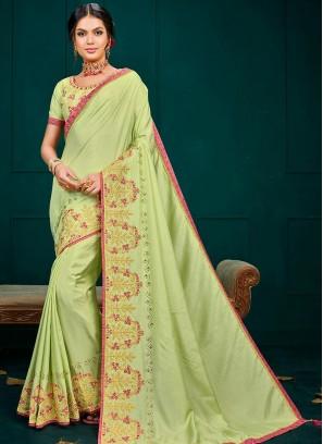 Festive Wear Designer Saree In Green Color