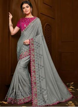 Festive Wear Designer Saree In Grey Color