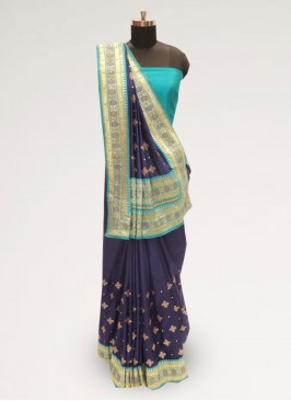 Festive Wear Designer Saree In Lovely Blue Color