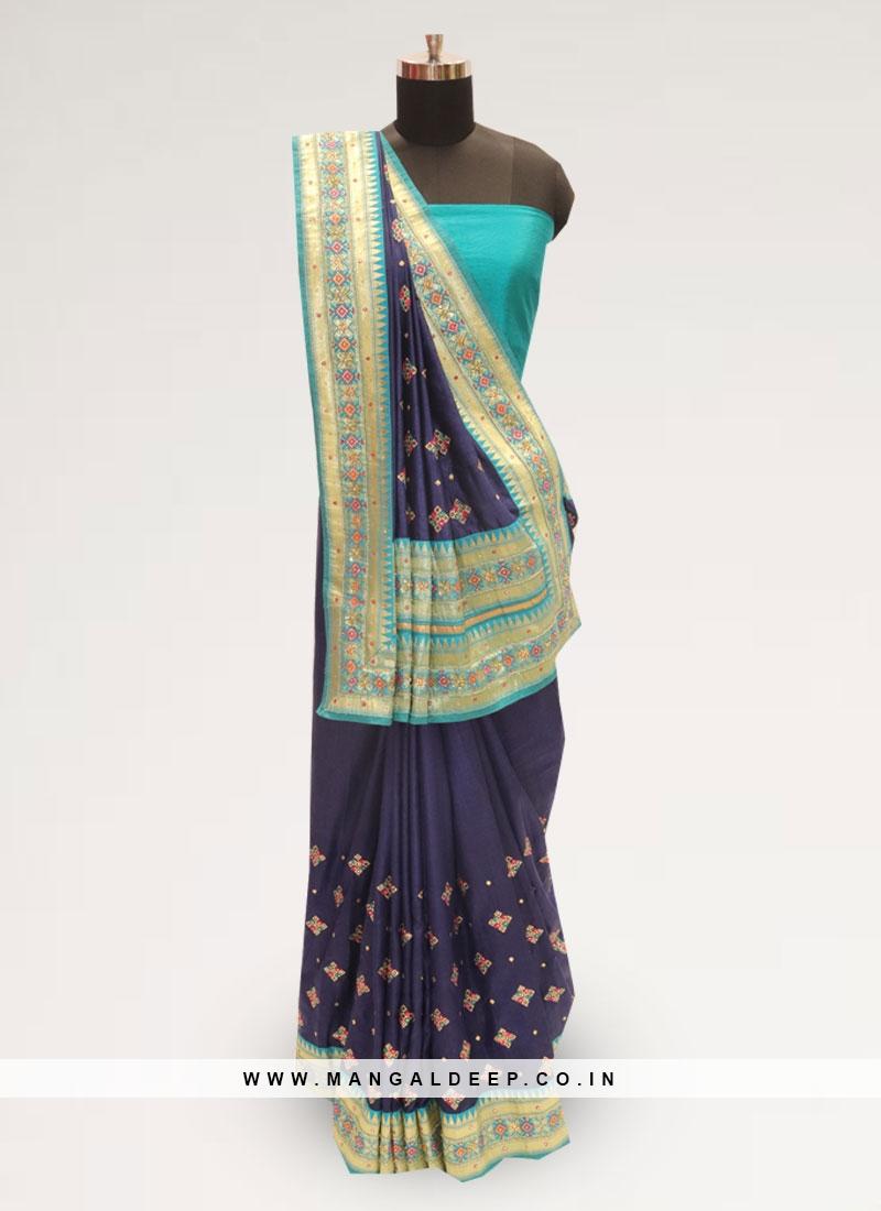 Festive Wear Designer Saree In Lovely Blue Color