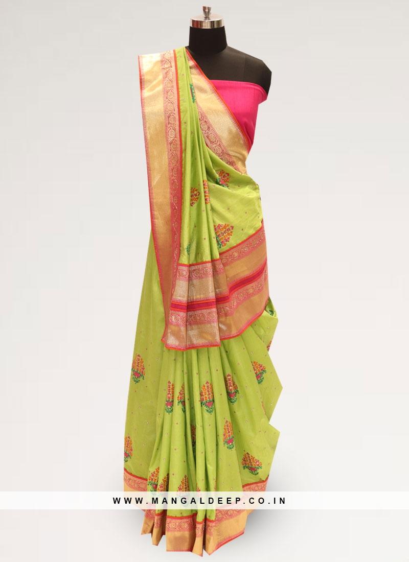 Festive Wear Designer Saree In Lovely Green Color