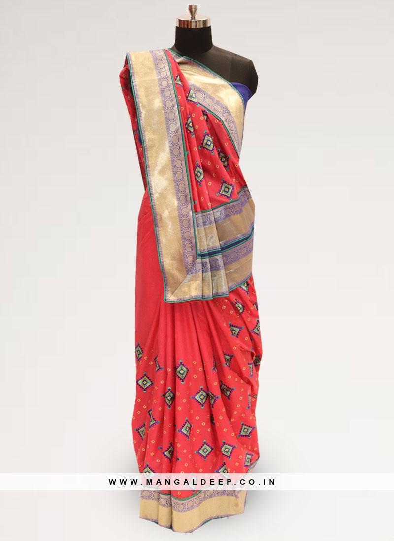 Festive Wear Designer Saree In Lovely Red Color