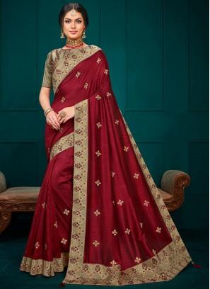 Festive Wear Designer Saree In Maroon Color