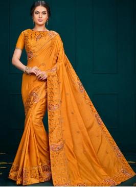 Festive Wear Designer Saree In Orange Color