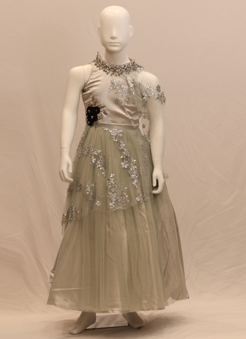 Festive Wear Embroidered Gown In Multi Color
