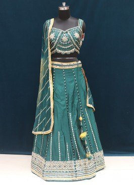 Festive Wear Embroidered Lehenga Choli In Green Color
