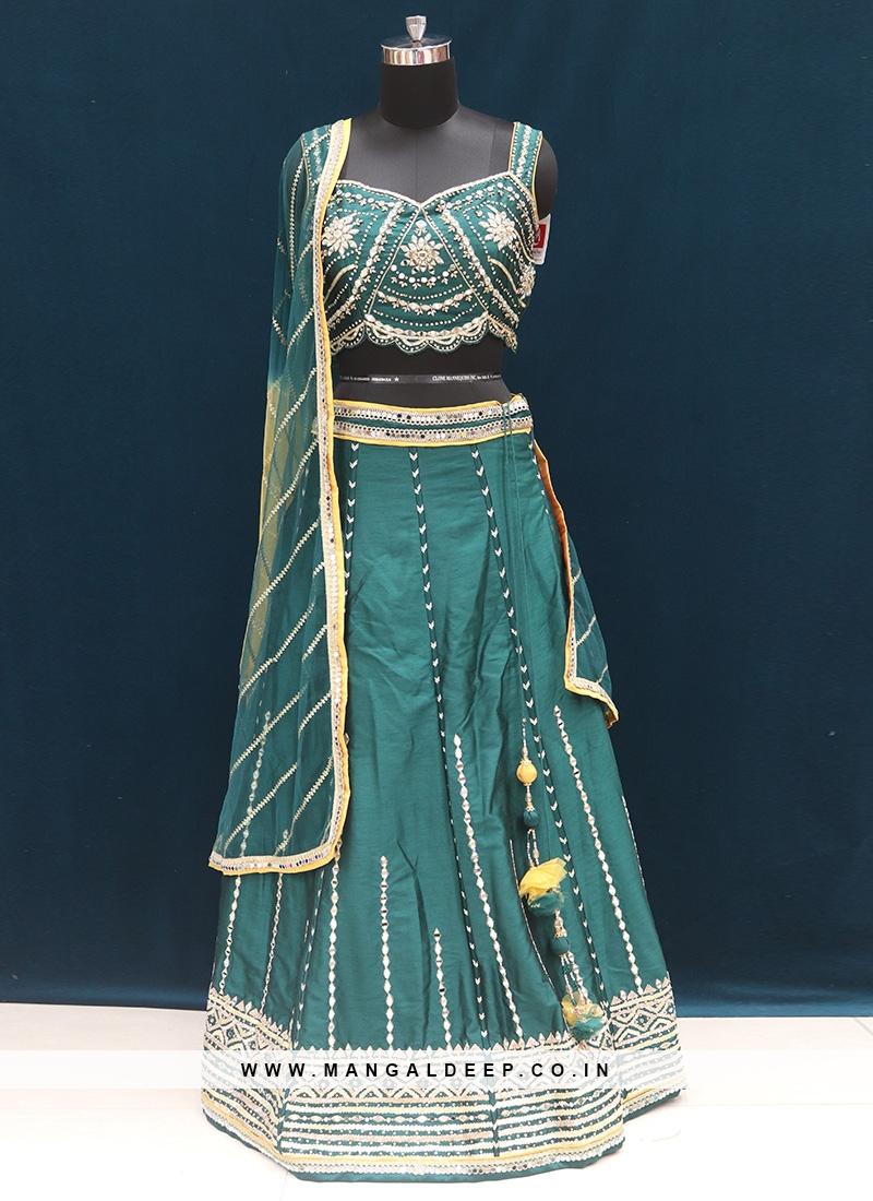 Festive Wear Embroidered Lehenga Choli In Green Color