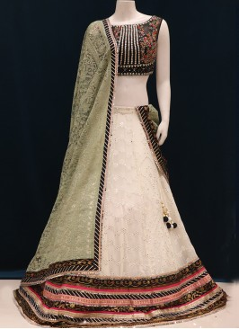Festive Wear Embroidered Lehenga Choli In Off White Color