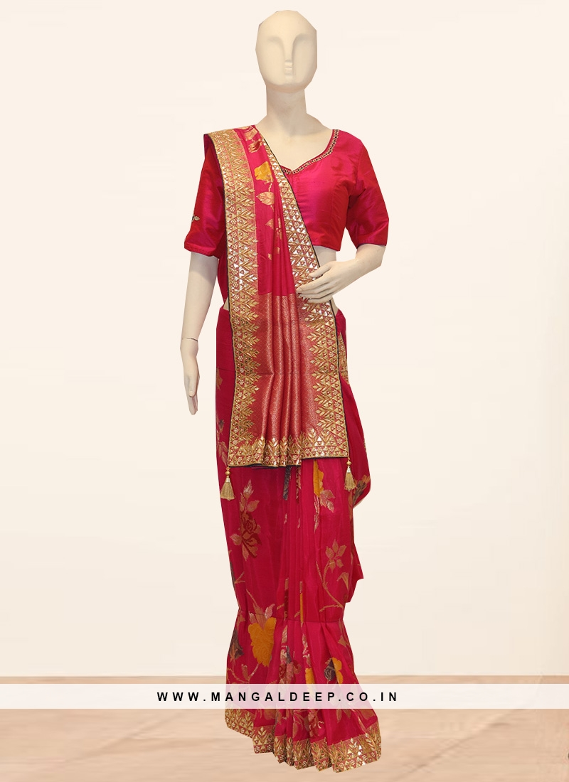 Festive Wear Embroidered Saree In Pink Color