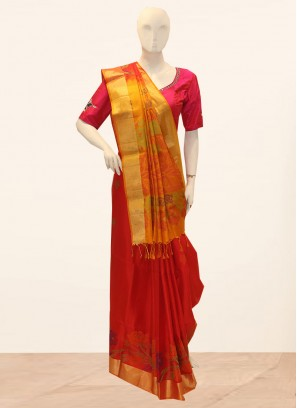 Festive Wear Embroidered Saree In Red Color