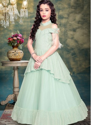 Festive Wear Green Color Designer Gown