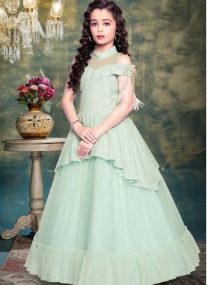 Festive Wear Green Color Designer Gown