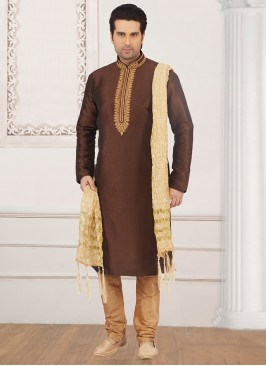 Festive Wear Kurta Payjama In Brown