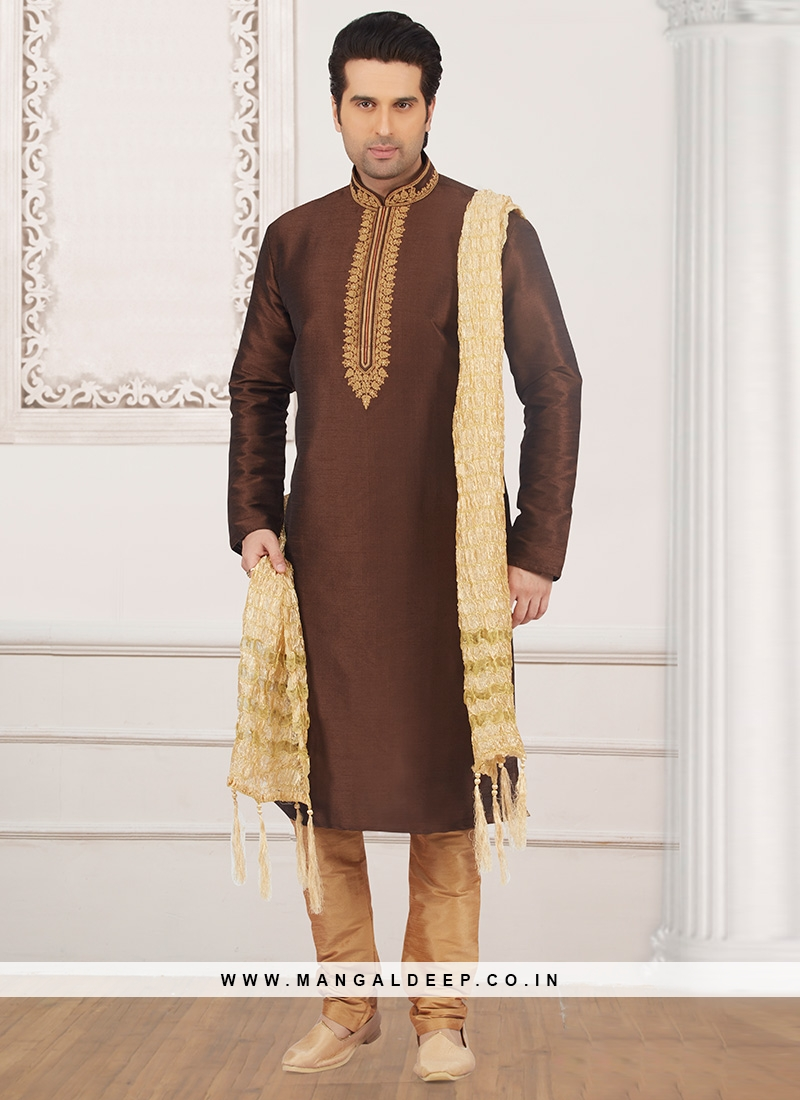 Festive Wear Kurta Payjama In Brown