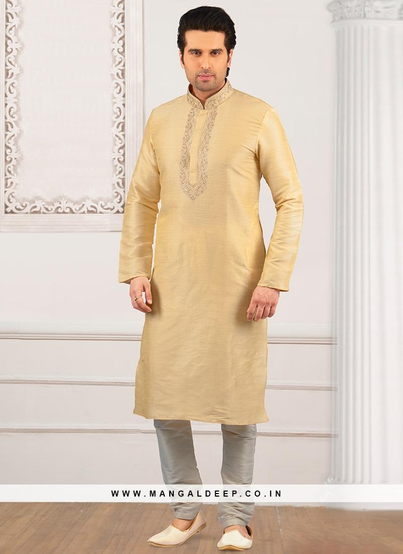 Festive Wear Kurta Payjama In Cream