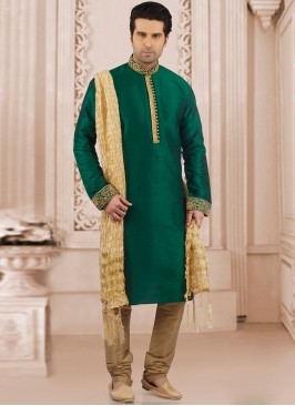 Festive Wear Kurta Payjama In Green