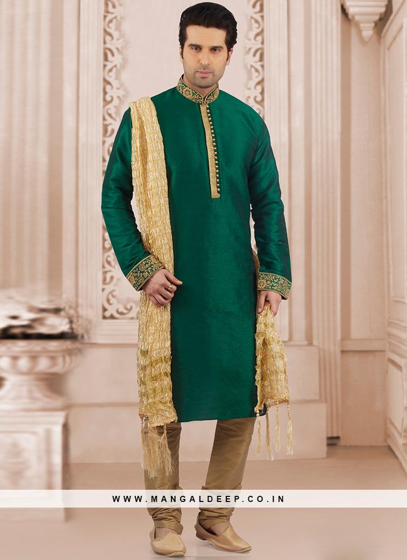 Festive Wear Kurta Payjama In Green
