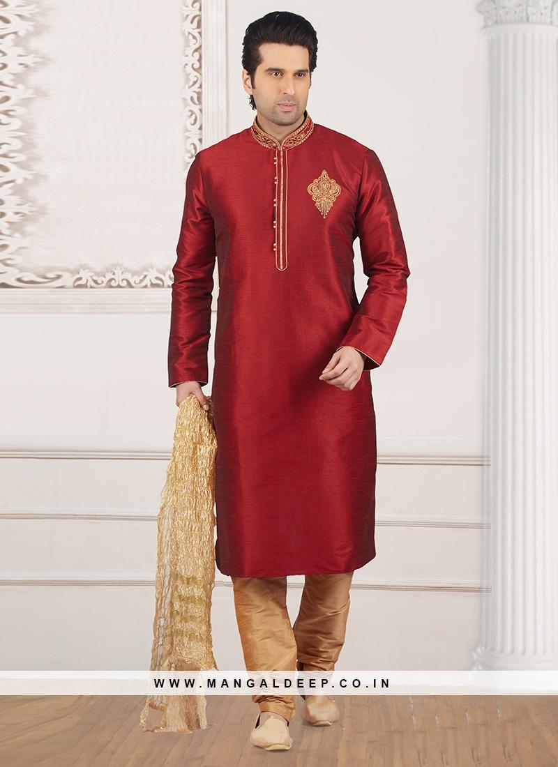 Festive Wear Kurta Payjama In Maroon