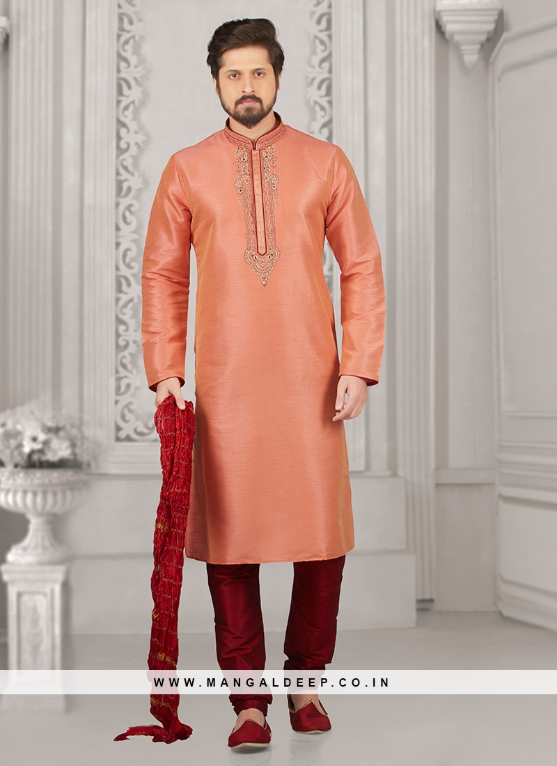 Festive Wear Kurta Payjama In Peach