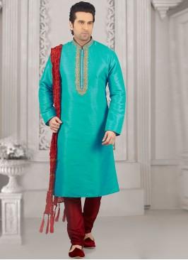 Festive Wear Kurta Payjama In Turquoise