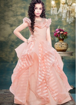 Festive Wear Pink Color Designer Gown