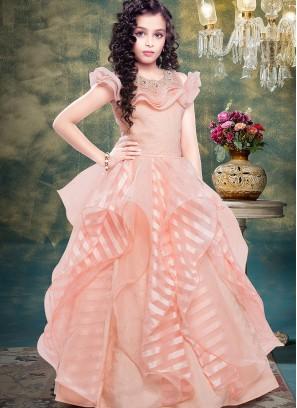 Festive Wear Pink Color Designer Gown