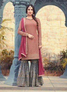 Festive Wear Pink Color Designer Suit