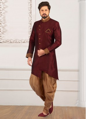 Festive Wear Semi Indo Suit In Maroon