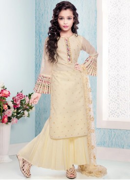 Function Wear Beige Color Fancy Kids Wear Suit