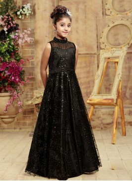 Function Wear Black Color Fancy Gown