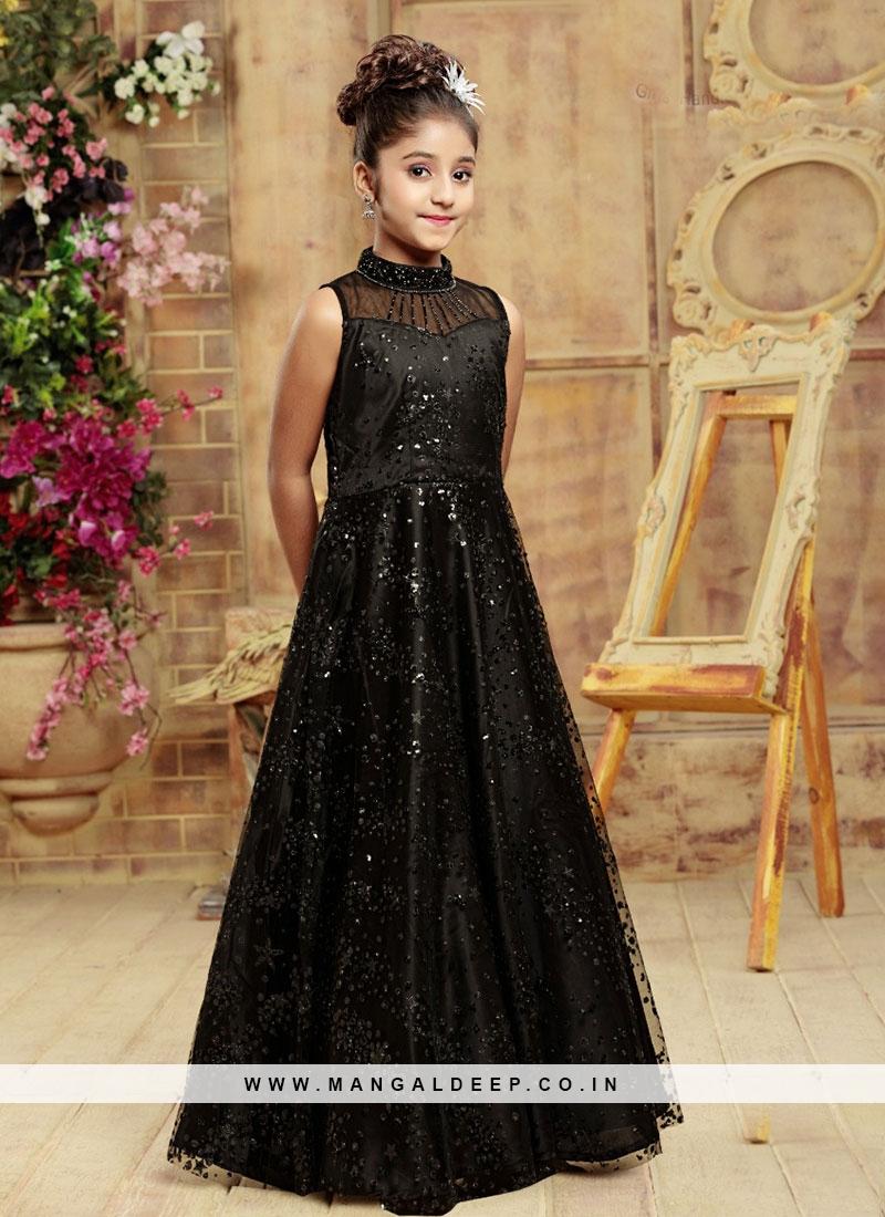 Function Wear Black Color Fancy Gown