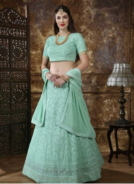 Function Wear Embroidered Lehenga Choli In Green Color