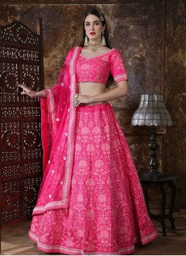 Function Wear Embroidered Lehenga Choli In Pink Color