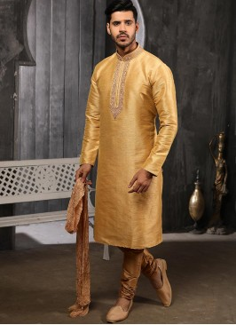 Function Wear Fancy Beige Color Designer Kurta Pajama