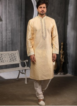 Function Wear Fancy Cream Color Designer Kurta Pajama